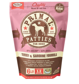 Primal Primal Raw Frozen Patties Dog Food Turkey & Sardine 6 lb CASE (*Frozen Products for Local Delivery or In-Store Pickup Only. *)