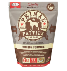 Primal Primal Raw Frozen Patties Dog Food Venison 6 lb CASE (*Frozen Products for Local Delivery or In-Store Pickup Only. *)