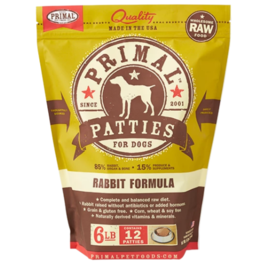 Primal Primal Raw Frozen Patties Dog Food Rabbit 6 lb CASE (*Frozen Products for Local Delivery or In-Store Pickup Only. *)