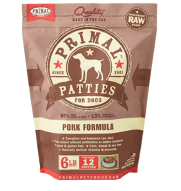 Primal Primal Raw Frozen Patties Dog Food Pork 6 lb CASE (*Frozen Products for Local Delivery or In-Store Pickup Only. *)