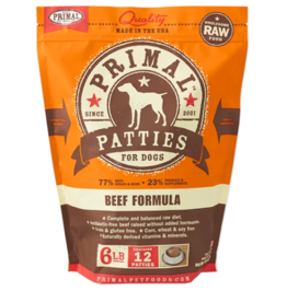 Primal Primal Raw Frozen Patties Dog Food Beef 6 lb CASE (*Frozen Products for Local Delivery or In-Store Pickup Only. *)