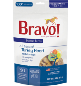 Bravo Bravo Freeze Dried Dog Treats  Turkey Hearts Bonus Bites 2 oz