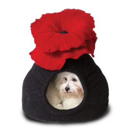 Distinctly Himalayan Distinctly Himalayan Felt Pet Cave Bouquet Red & Black