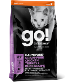 Petcurean Go! Carnivore Cat Kibble Grain-Free Chicken Turkey Duck 4 lb