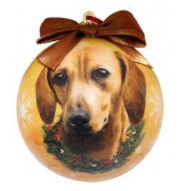 E&S Pets Christmas Ornament Dachshund Red