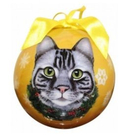 E&S Pets E&S Pets Christmas Ornament Silver Tabby Cat