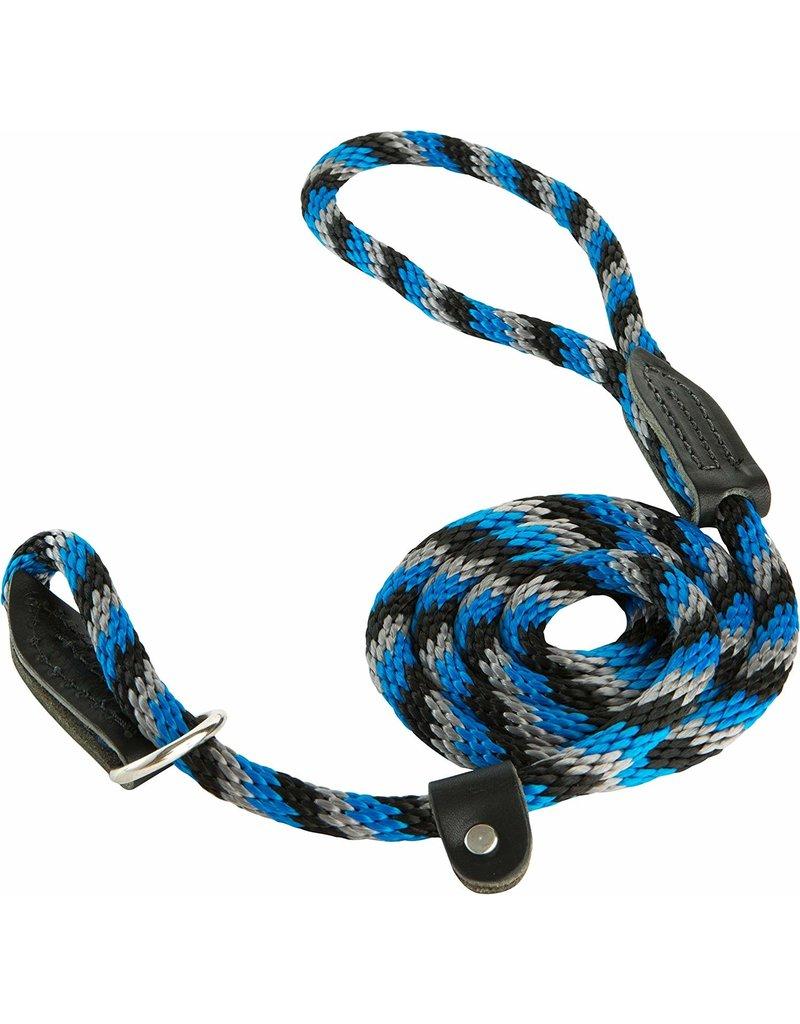 OmniPet OmniPet British Rope Slip Lead Blue/Black/Silver 6 ft