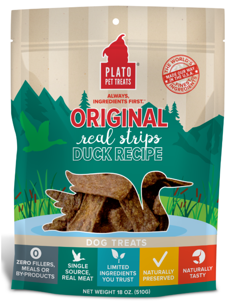 Plato Plato Dog Jerky Treats Organic Duck Strips 18 oz