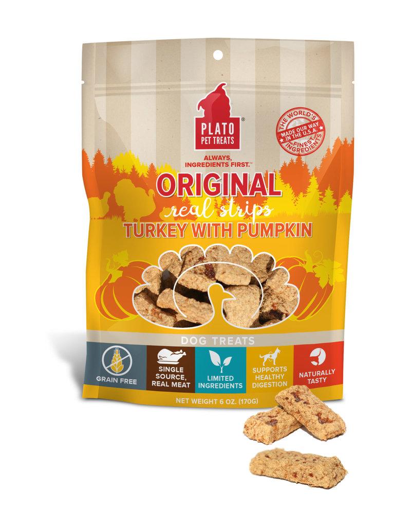Plato Plato Dog Jerky Treats Organic Turkey & Pumpkin Strips 18 oz