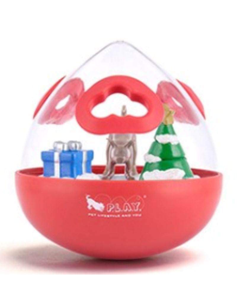 PLAY P.L.A.Y. Dog Toys Ball Wobble 2.0 Interactive Holiday Red One Size