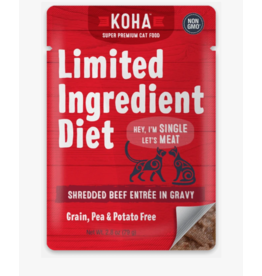 Koha Koha LID Premium Cat Food Shredded Beef 2.8 oz Pouch single