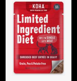 Koha Koha LID Premium Cat Food | CASE Shredded Beef 2.8 oz Pouch