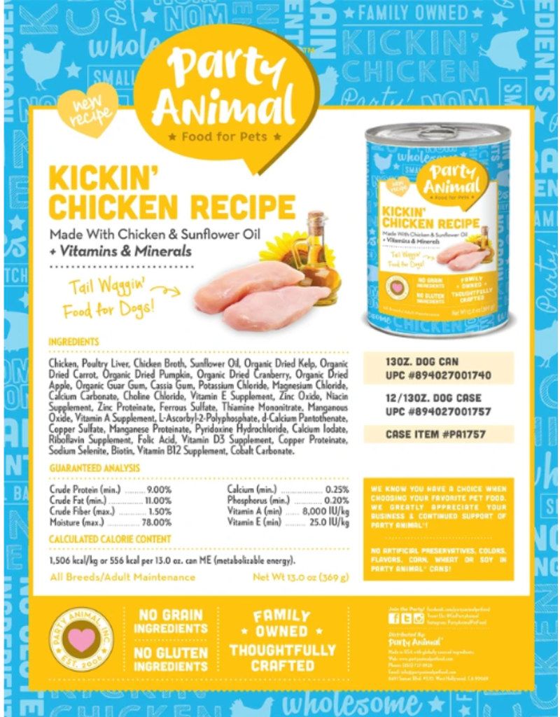 Party Animal Party Animal Organic Dog Can Kickin' Chicken 13 oz CASE