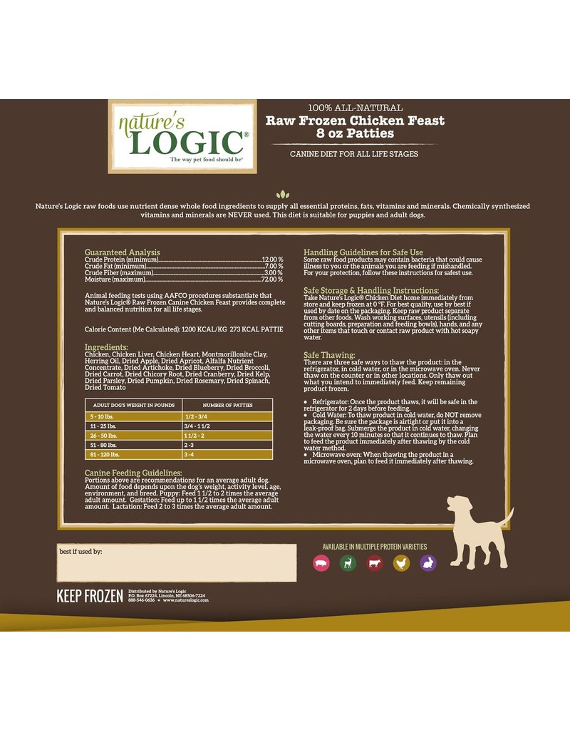 Nature's Logic Nature's Logic Raw Frozen Dog Patties Chicken 6 lbs (*Frozen Products for Local Delivery or In-Store Pickup Only. *)