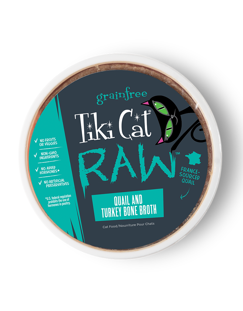 Tiki Tiki Cat Raw Frozen Cat Food | Quail w/ Turkey Bone Broth 24 oz single (*Frozen Products for Local Delivery or In-Store Pickup Only. *)