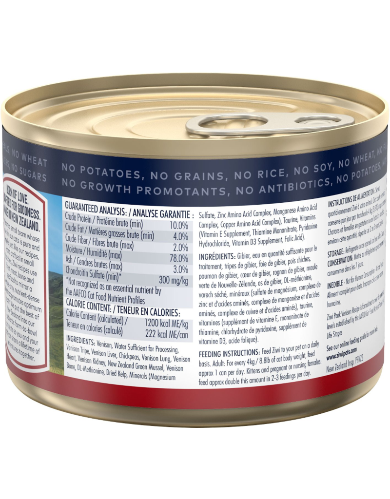 ZiwiPeak Canned Cat Food Venison 6.5 oz single - The Pet ...