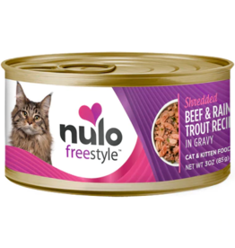 Nulo Nulo FreeStyle Canned Cat Food CASE Shredded Beef & Trout 3 oz