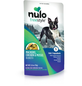 Nulo Nulo Freestyle Dog Pouches CASE Mackerel, Chicken, & Mussel in Broth 2.8 oz