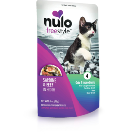 Nulo Nulo Freestyle Cat Pouches CASE Sardine & Beef in Broth 2.8 oz