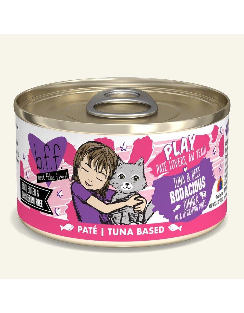 Weruva Best Feline Friend PLAY Land & Sea Pate   CASE Tuna & Beef Bodacious Dinner in Puree 2.8 oz