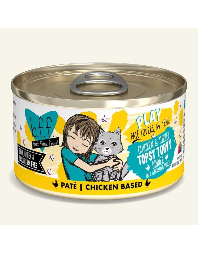 Weruva Best Feline Friend PLAY Land & Sea Pate | CASE Chicken & Turkey Topsy Turvy Dinner in Puree 2.8 oz