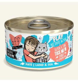 Weruva Best Feline Friend PLAY Land & Sea Pate | Salmon & Tuna Tuck Me In Dinner in Puree 2.8 oz single