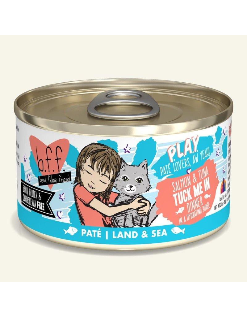Weruva Best Feline Friend PLAY Land & Sea Pate | Salmon & Tuna Tuck Me In Dinner in Puree 2.8 oz single