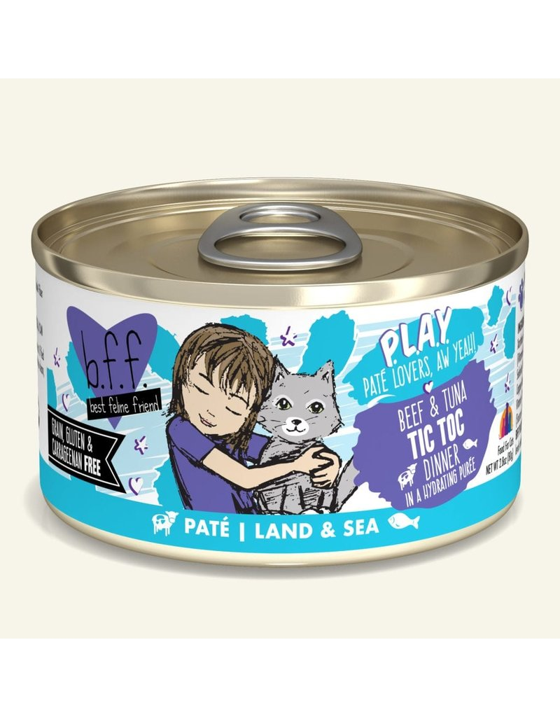 Weruva Best Feline Friend PLAY Land & Sea Pate    Beef & Tuna Tic Toc Dinner in Puree 2.8 oz single