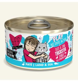 Weruva Best Feline Friend PLAY Land & Sea Pate | Duck & Tuna Trickster Dinner in Puree 2.8 oz single