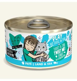 Weruva Best Feline Friend PLAY Land & Sea Pate | Turkey & Tuna Tweet Me Dinner in Puree 2.8 oz single