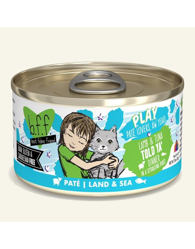Weruva Best Feline Friend PLAY Land & Sea Pate | Lamb & Tuna Told Ya' Dinner in Puree 2.8 oz single