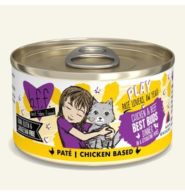 Weruva Best Feline Friend PLAY Land & Sea Pate | Chicken & Beef Best Buds Dinner in Puree 2.8 oz single