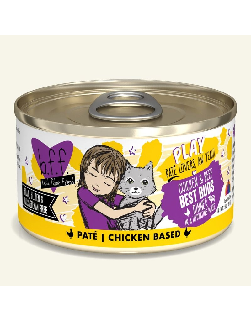 Weruva Best Feline Friend PLAY Land & Sea Pate | Chicken & Beef Best Buds Dinner in Puree 2.8 oz single