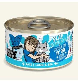 Weruva Best Feline Friend PLAY Land & Sea Pate | Chicken & Tuna Til' Then Dinner in Puree 2.8 oz single