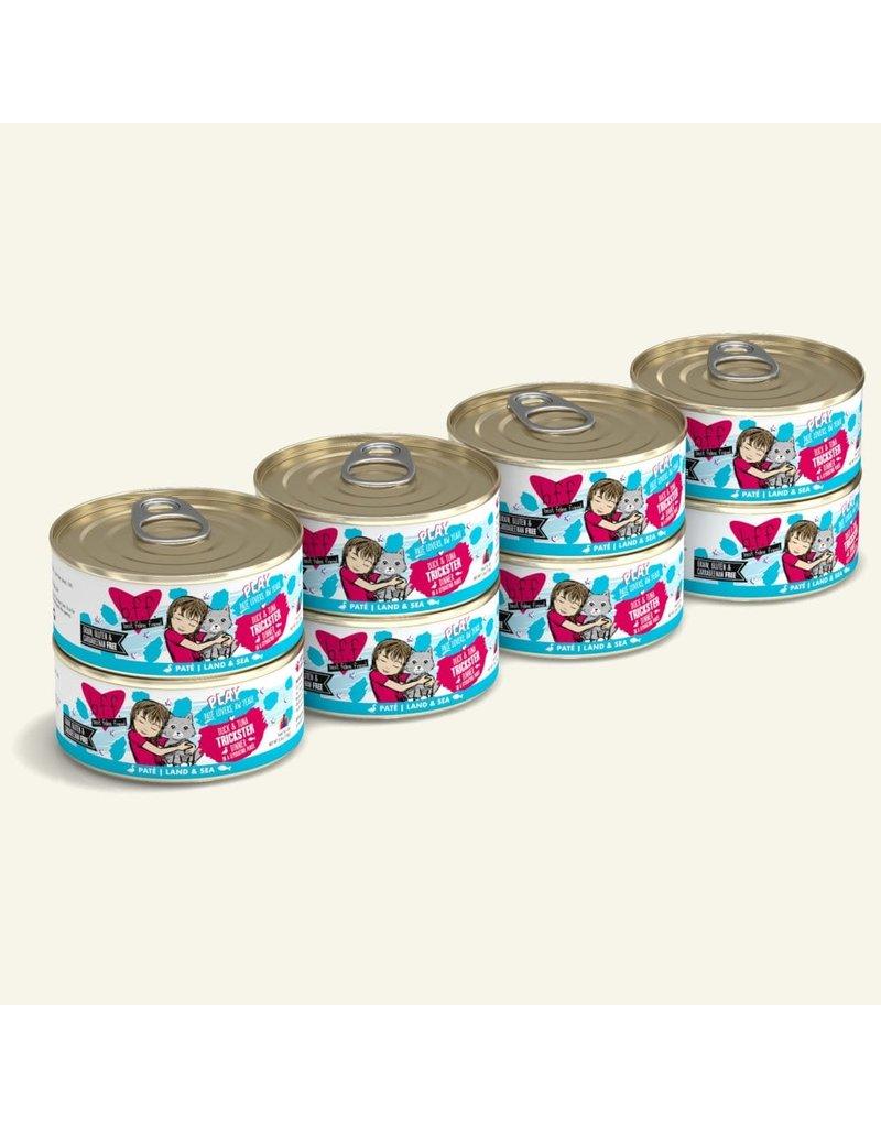 Weruva Best Feline Friend PLAY Land & Sea Pate | CASE Duck & Tuna Trickster Dinner in Puree 5.5 oz