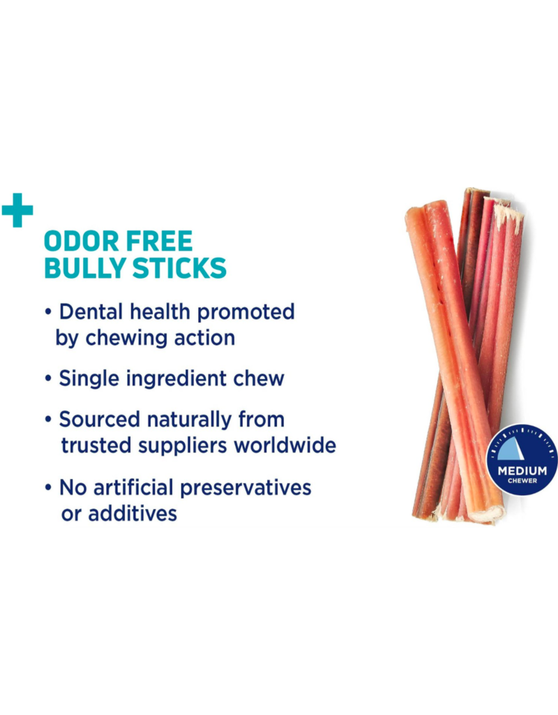 "Barkworthies Barkworthies Dog Bully Stick Odor-Free Jumbo 12"" single"
