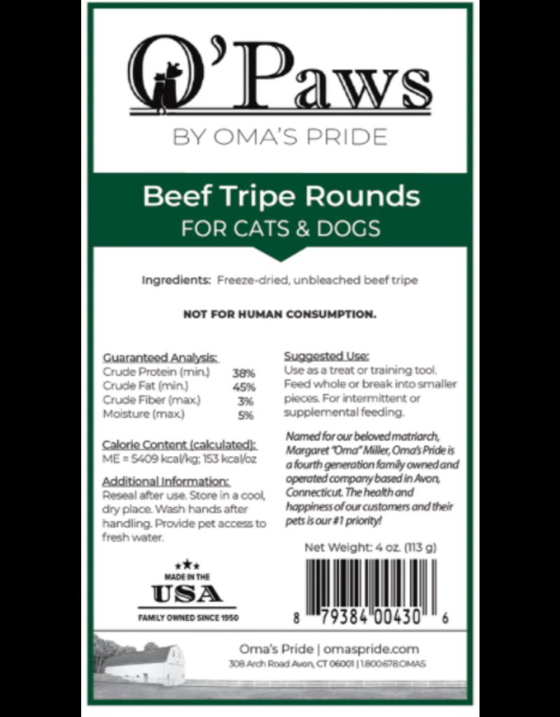 Oma's Pride Oma's Pride Freeze Dried Beef Tripe Rounds 4 oz single