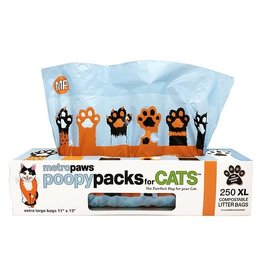 Metro Paws Poopy Packs for Cats Compostable Litter Bags Orange Claws Extra Large (XL) 250 durct