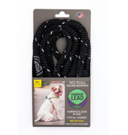 Harness Lead Harness Lead | Black Reflective Large 40-170 lbs