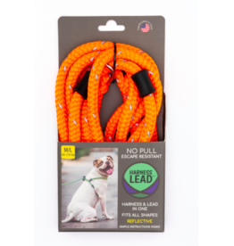 Harness Lead Harness Lead | Orange Reflective Large 40-170 lbs