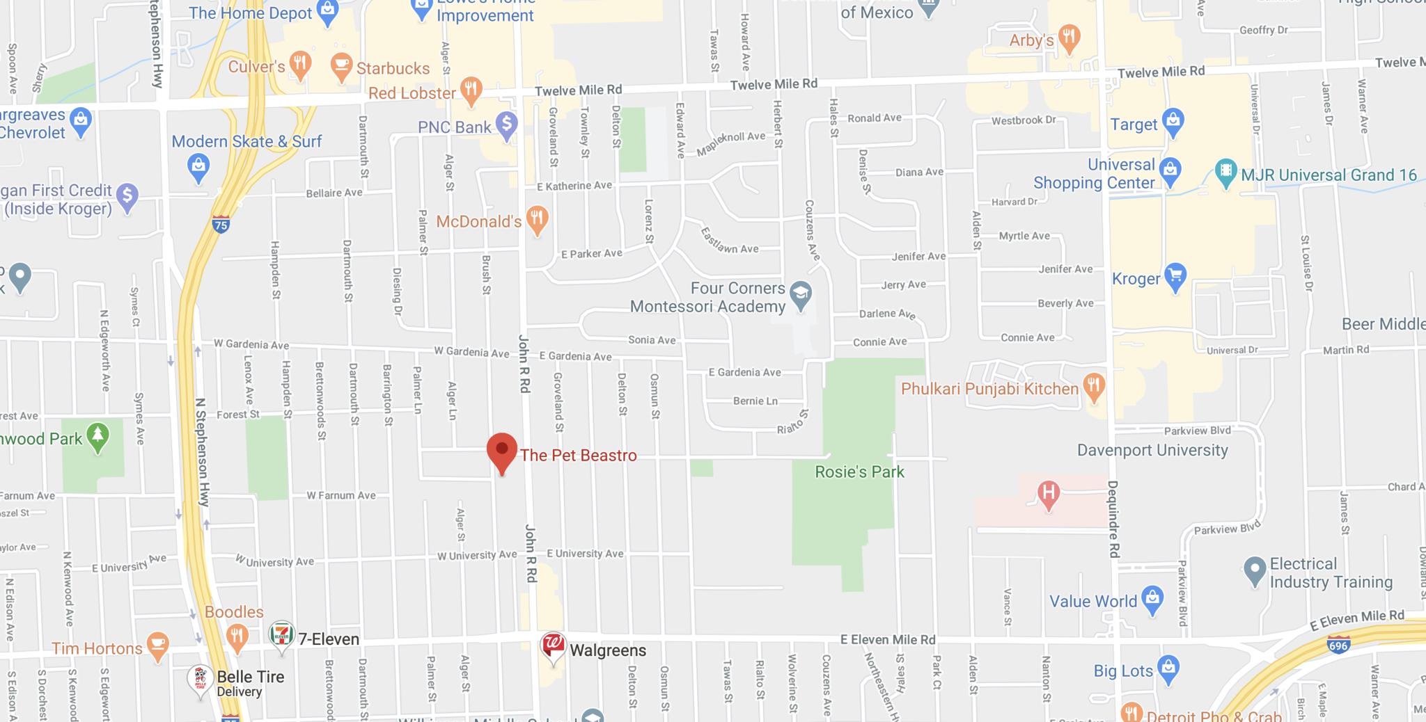 google map The Pet Beastro Location Madison Heights, Michigan