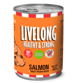 Livelong LiveLong Dog Canned Food CASE Salmon & Sweet Potato Recipe 13 oz