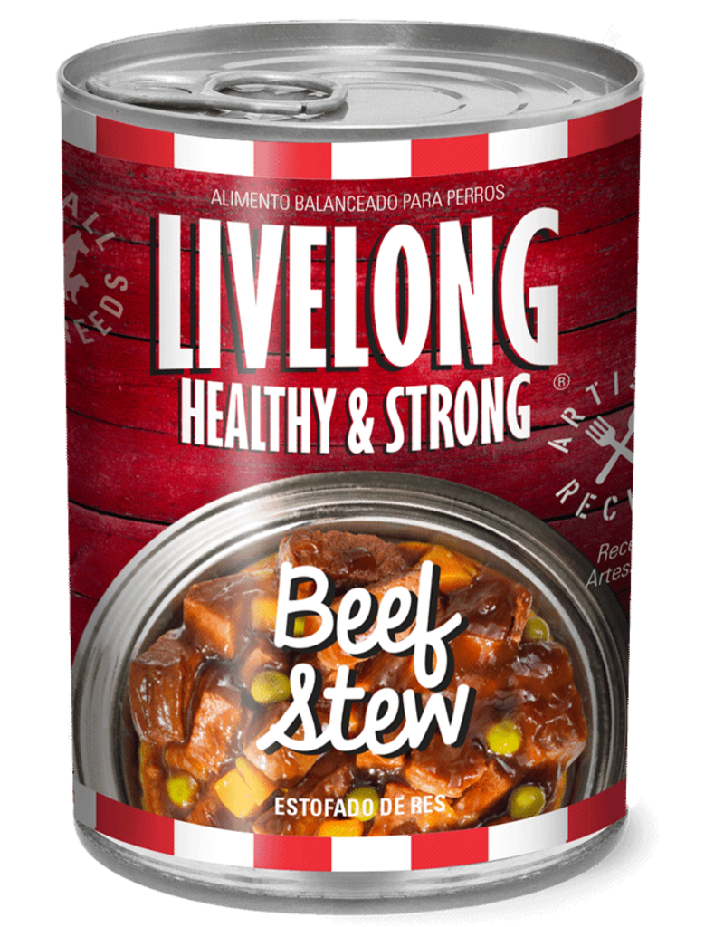 Livelong LiveLong Dog Canned Food CASE Beef Stew 12 oz