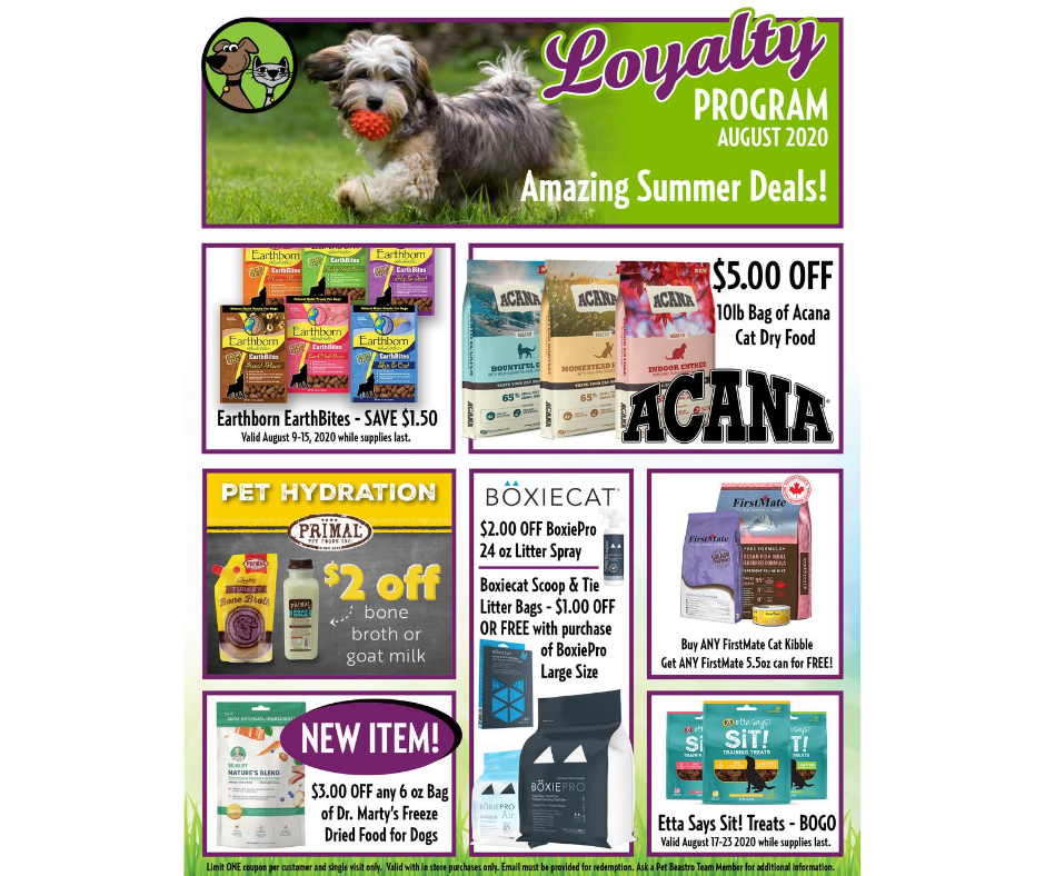 August Loyalty Program Specials For Cats & Dogs Are Here!