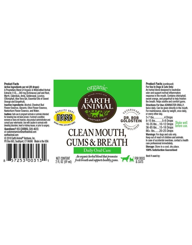 Earth Animal Earth Animal Tinctures Clean Mouth, Gums & Breath Oral Care 4 oz