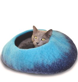Distinctly Himalayan Distinctly Himalayan Felt Cat Cave Ombre Navy/Turquoise