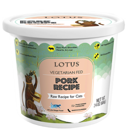Lotus Natural Pet Food Lotus Frozen Raw Cat Food | Vegetarian Fed Pork 24 oz (*Frozen Products for Local Delivery or In-Store Pickup Only. *)