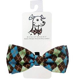 Huxley & Kent Huxley & Kent Bow Tie | Teal Argyle Extra Large (XL)