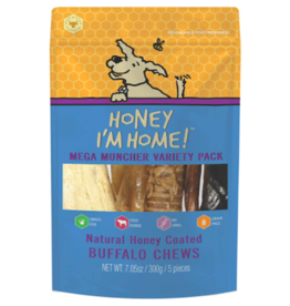 Honey Im Home Honey I'm Home Dog Treats l Buffalo Mega Muncher Variety Pack 5 pc