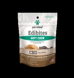 Pet Releaf Pet Releaf Edibites Soft Chews | CBD Calming Peanut Butter & Carob Swirl Trial Size 2.5 oz